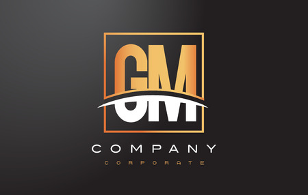 gm: GM G M Golden Letter Logo Design with Swoosh and Rectangle Square Box Vector Design.