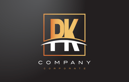 PK P K Golden Letter Logo Design with Swoosh and Rectangle Square Box Vector Design.