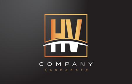 HV H V Golden Letter Logo Design with Swoosh and Rectangle Square Box Vector Design.