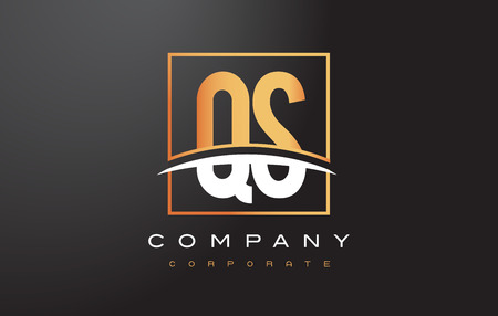 qs: QS Q S Golden Letter Logo Design with Swoosh and Rectangle Square Box Vector Design. Illustration