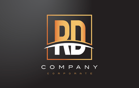 rd: RD R D Golden Letter Logo Design with Swoosh and Rectangle Square Box Vector Design.