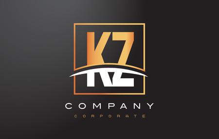kz: KZ K Z Golden Letter Logo Design with Swoosh and Rectangle Square Box Vector Design. Illustration