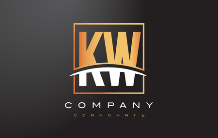 kw: KW K W Golden Letter Logo Design with Swoosh and Rectangle Square Box Vector Design.