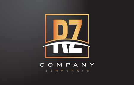 RZ R Z Golden Letter Logo Design with Swoosh and Rectangle Square Box Vector Design.
