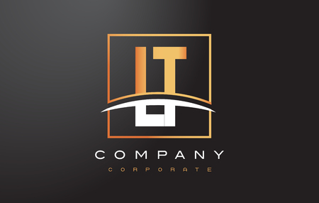 LT L T Golden Letter Logo Design with Swoosh and Rectangle Square Box Vector Design.