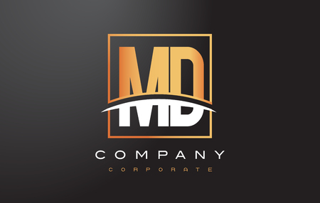 md: MD M D Golden Letter Logo Design with Swoosh and Rectangle Square Box Vector Design.