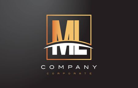 ml: ML M L Golden Letter Logo Design with Swoosh and Rectangle Square Box Vector Design.