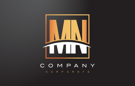 mn: MN M N Golden Letter Logo Design with Swoosh and Rectangle Square Box Vector Design.