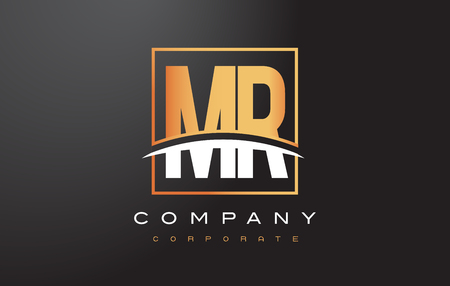 MR M R Golden Letter Logo Design with Swoosh and Rectangle Square Box Vector Design.