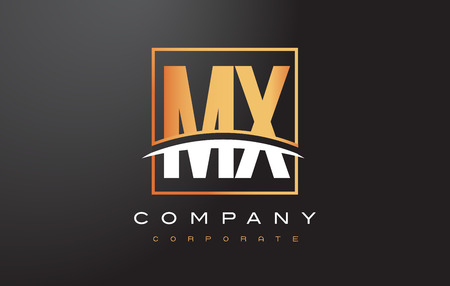 mx: MX M X Golden Letter Logo Design with Swoosh and Rectangle Square Box Vector Design. Illustration