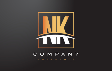 NK N K Golden Letter Logo Design with Swoosh and Rectangle Square Box Vector Design. Illusztráció