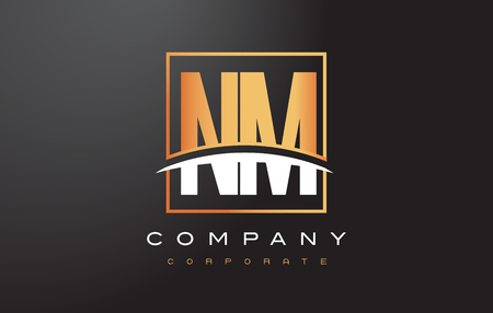 NM N M Golden Letter Logo Design with Swoosh and Rectangle Square Box Vector Design.