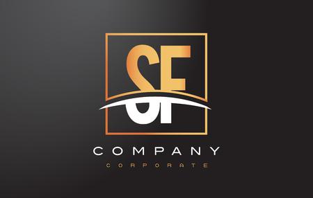 SF S F Golden Letter Logo Design with Swoosh and Rectangle Square Box Vector Design. Illusztráció