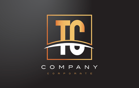 rectangle: TC T C Golden Letter Logo Design with Swoosh and Rectangle Square Box Vector Design.