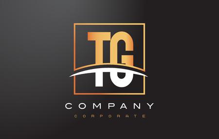 TG T G Golden Letter Logo Design with Swoosh and Rectangle Square Box Vector Design. Illustration