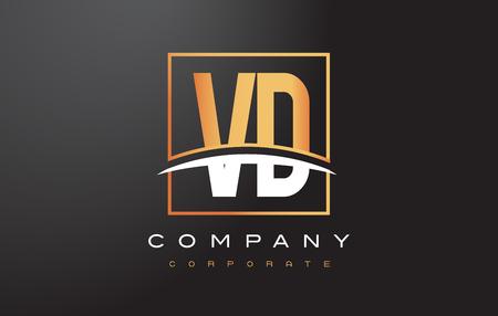VD V D Golden Letter Logo Design with Swoosh and Rectangle Square Box Vector Design.