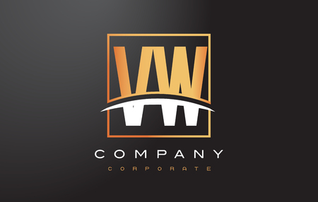 vw: VW V W Golden Letter Logo Design with Swoosh and Rectangle Square Box Vector Design.