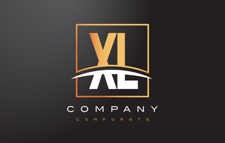XL X L Golden Letter Logo Design with Swoosh and Rectangle Square Box Vector Design. Illustration