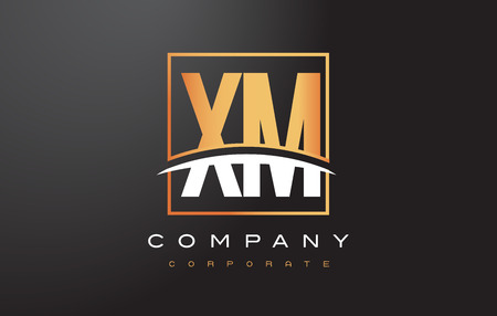 xm: XM X M Golden Letter Logo Design with Swoosh and Rectangle Square Box Vector Design.