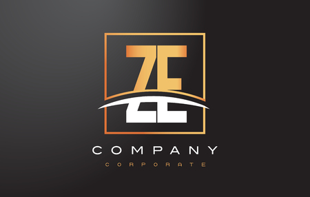 ze: ZE Z E Golden Letter Logo Design with Swoosh and Rectangle Square Box Vector Design.