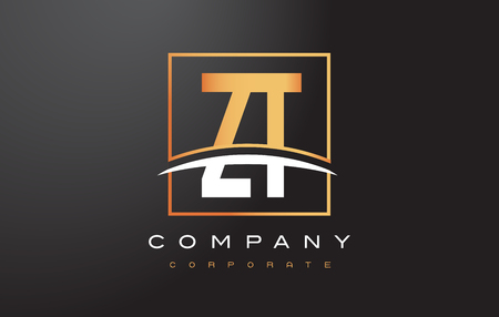 ZT ZT Altın Harf Swoosh ve Dikdörtgen Kare Kutu Vektör Tasarım ile Logo Tasarımı.