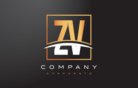 ZV Z V Golden Letter Logo Design with Swoosh and Rectangle Square Box Vector Design.