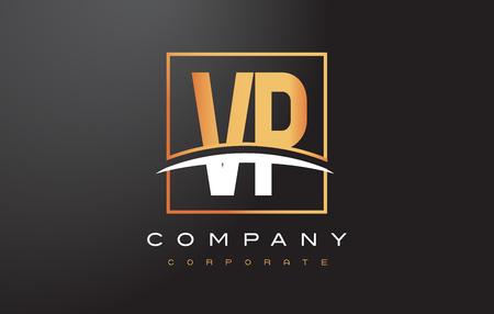 vp: VP V P Golden Letter Logo Design with Swoosh and Rectangle Square Box Vector Design.