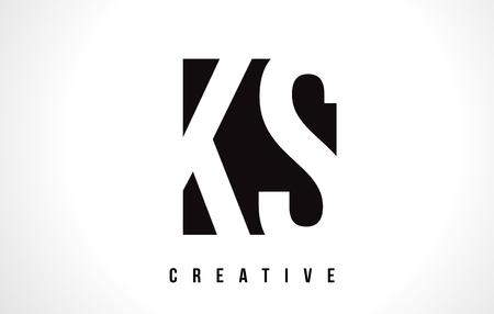 KS K S White Letter Logo Design with Black Square Vector Illustration Template.