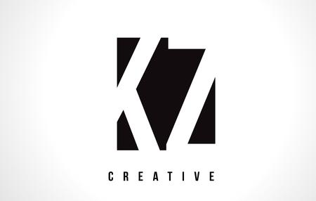 kz: KZ K Z White Letter Logo Design with Black Square Vector Illustration Template.