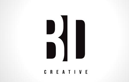BD B D White Letter Logo Design with Black Square Vector Illustration Template.