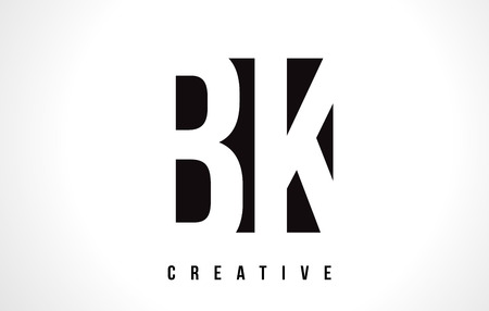 BK B K White Letter Logo Design with Black Square Vector Illustration Template. Illustration
