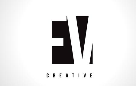 fv: FV F V White Letter Logo Design with Black Square Vector Illustration Template.