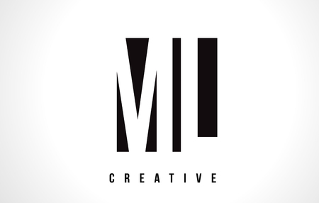 ml: ML M L White Letter Logo Design with Black Square Vector Illustration Template.