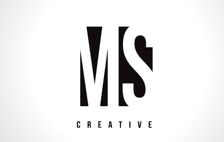 MS M S White Letter Logo Design with Black Square Vector Illustration Template.