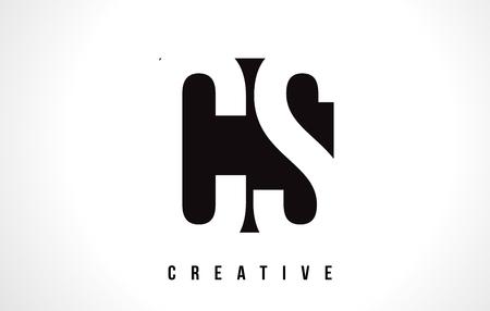 cs: CS C S White Letter Logo Design with Black Square Vector Illustration Template. Illustration