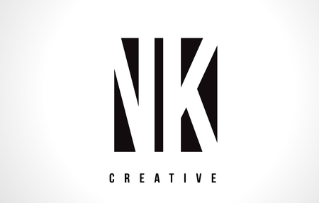 NK N K White Letter Logo Design with Black Square Vector Illustration Template.