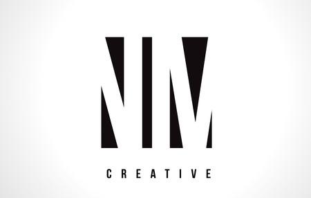 NM N M White Letter Logo Design with Black Square Vector Illustration Template. Illustration