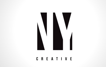 NY N Y White Letter Logo Design with Black Square Vector Illustration Template.