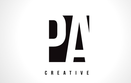 PA P A White Letter Logo Design with Black Square Vector Illustration Template.