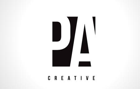 PA PA witte brief Logo Design met Black Square Vector Illustratie sjabloon.