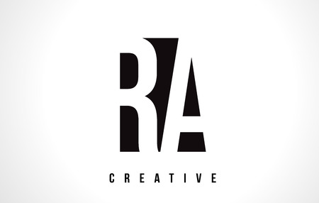 RA R Q White Letter Logo Design with Black Square Vector Illustration Template.