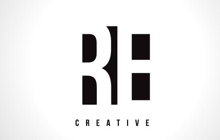 RE R E White Letter Logo Design with Black Square Vector Illustration Template.
