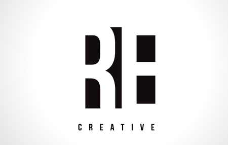 RE R E White Letter Logo Design with Black Square Vector Illustration Template.