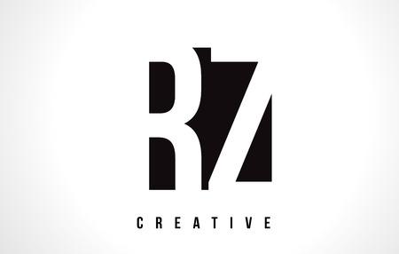 RZ R Z White Letter Logo Design with Black Square Vector Illustration Template. Logó