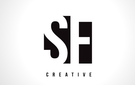 sf: SF S F White Letter Logo Design with Black Square Vector Illustration Template.