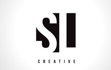 SL S L White Letter Logo Design with Black Square Vector Illustration Template.
