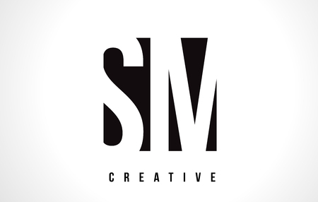 SM S M White Letter Logo Design with Black Square Vector Illustration Template.