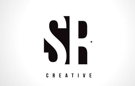 SR S R White Letter Logo Design with Black Square Vector Illustration Template.