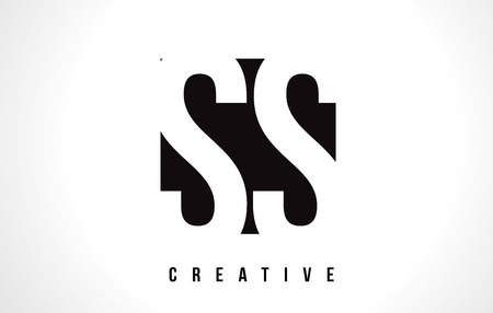ss: SS S S White Letter Logo Design with Black Square Vector Illustration Template.