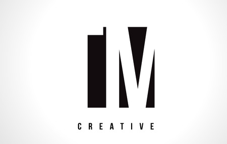 Création de logo lettre blanche TM TM avec gabarit d'illustration vectorielle carré noir.
